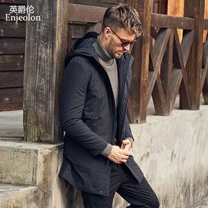 Image 3 - Enjeolon מותג החורף עבה ארוך מעיל מעיל גברים ארוך מעיל נים גברים Jcaket ארוך מעייל דובון גברים חם 3XL מעיל גברים MF0624