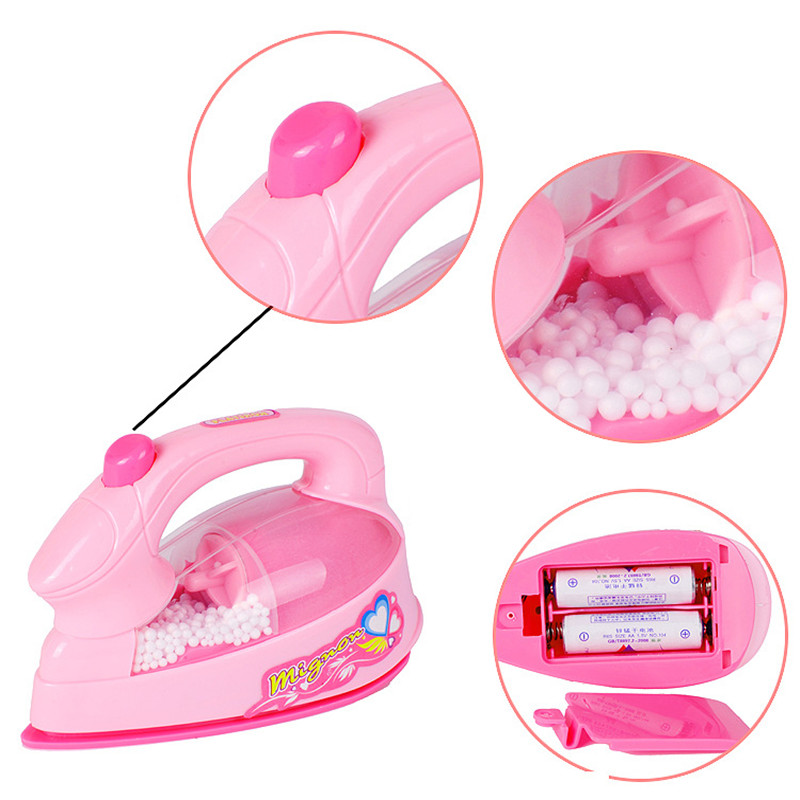 Image 4 - Girl Pretend Play Mini Electric Iron Plastic Pink Safrty Plastic Light up Simulation Kids Children Baby Girl Home Appliances Toy-in Furniture Toys from Toys & Hobbies