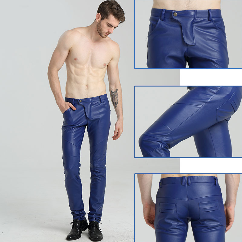 Fashion Men Slim PU Leather Trousers Man Leather Pants Spring Autumn High Elastic Man Motorcycle Pants Street Faux Leather Pants