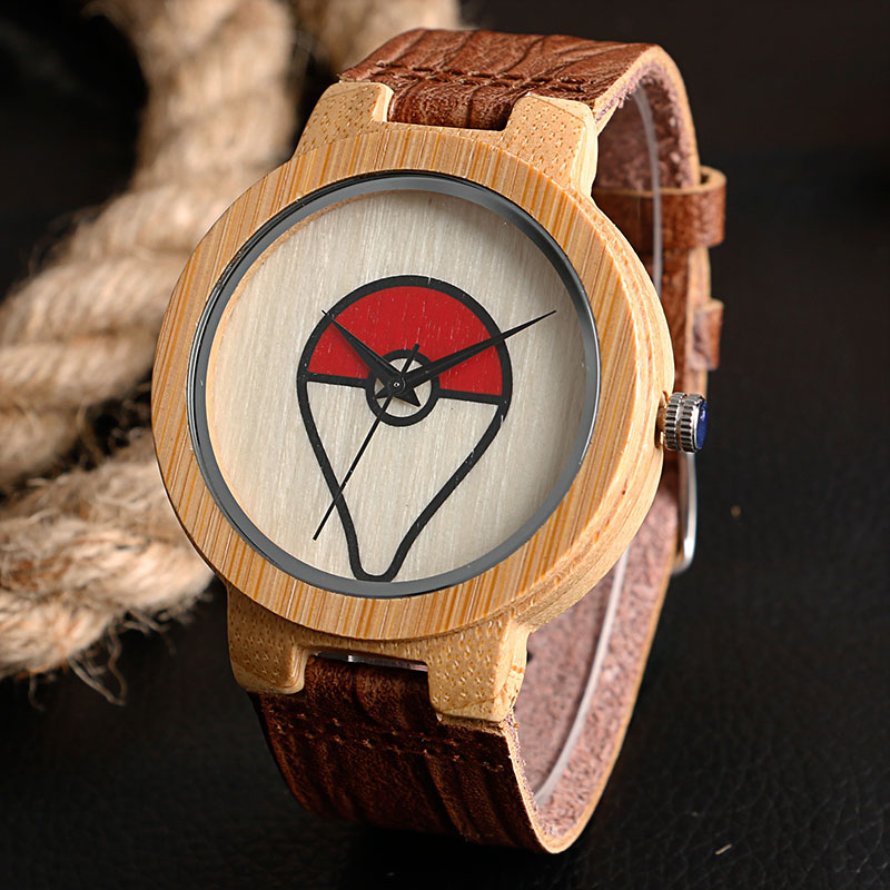 8f0aedef8 بارد بوكيمون الكرة موضوع الخشب ووتش يدوية الصنع الطبيعة ضوء الخيزران ساعة  اليد للرجال الأولاد مع جلد طبيعي الفرقة