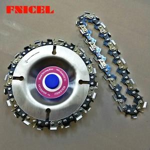 Image 2 - 4 inç ahşap oyma disk kesim zinciri 22 diş taşlama diski ince testere seti w/ 2 zincirler 100/115 açı öğütücü Wooking araçları