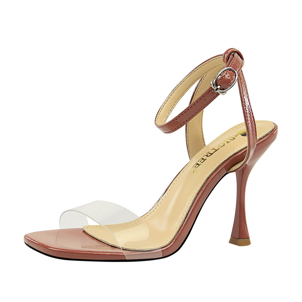 European Silver Transparent Crystal Sandals Thick With Ankle Word Buckle Sandals Women Shoes Summer New Heel 10cm