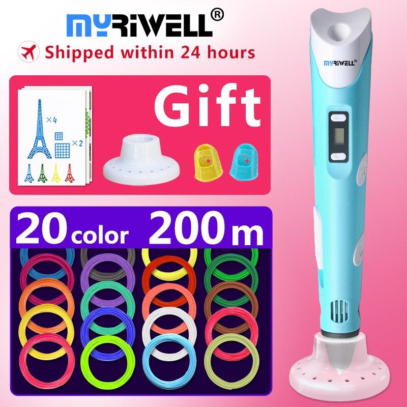 Myriwell 3d caneta 3d canetas, 1.75mm ABS/PLA Filamento, 3d modelo, presente de Ano novo 3d magic pen, Crianças presente de aniversário presente de Natal