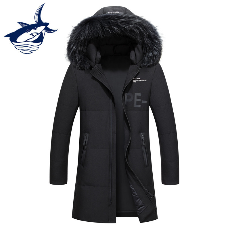 New Brand Tace & Shark Mens Down Jacket Fur Collar Windproof Thermal Warm Long White Duck Down Coat Mens Winter Jacket