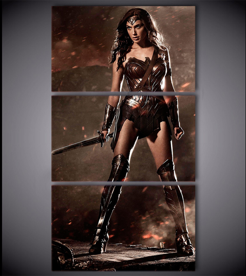 3 Piece Wall Canvas Prints Poster Wonder Woman Painting ...
