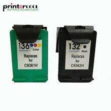 einkshop 132 136 Remanufactured Ink Cartridge Replacement for HP 132 136 Photosmart 2573 C3183 Officejet 6213  PSC 1513 printer