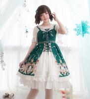 Pastoral style sweet lolita dress vintage lace bowknot cute printing cardigan victorian dress kawaii girl gothic lolita jsk loli