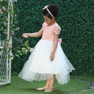 Image 5 - Pettigirl Girls Flower Feast Party Dress Big Bow Beading Pink Princess Dress With Hairhand Kids Boutique Wedding Clothes 1082