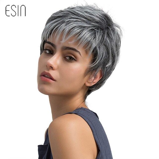 Esin Kurze Haare Perücke Pixie Cut Licht Grau Haar Perücke Ombre ...