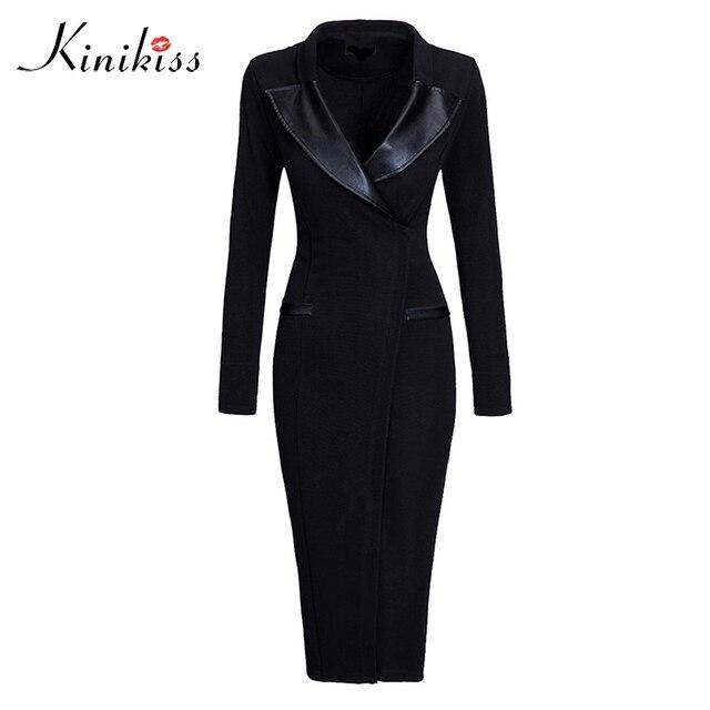 Kinikiss women autumn bodycon dress 2017 warm thick black solid long sleeve spring slim v neck party dress fashion office dress