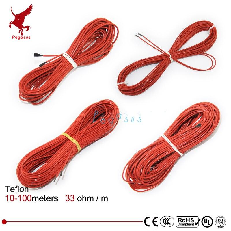 F12K 10-100 metros 33ohm PTFE de teflón de fibra de carbono de alambre de calefacción cable de alta calidad de infrarrojos de alambre de calefacción