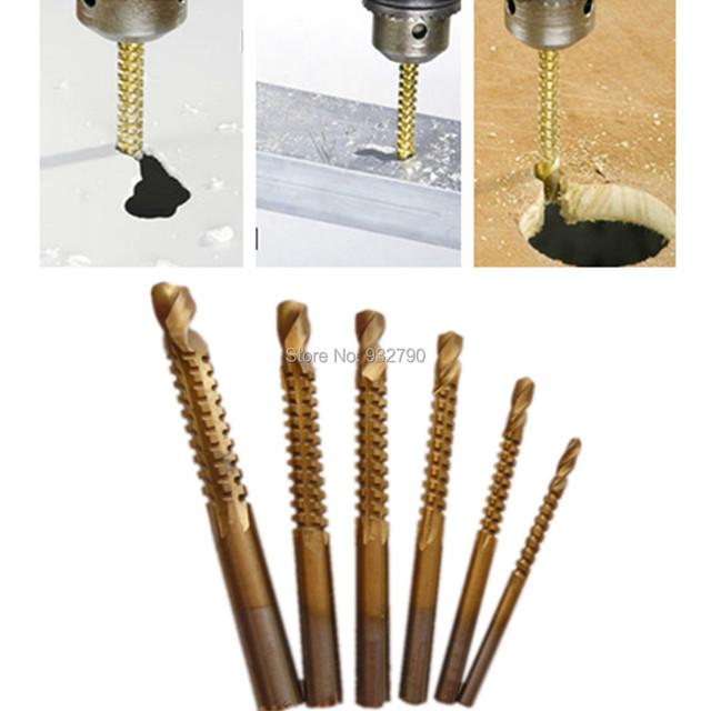 Carpenter Wood Plastic Metal Hole Grooving Saw Drill Bit Cutting Slot Sawtooth Bit6pc Titanium Coated Woodworking Saw Drill Bit