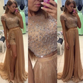 Two Pieces Evening Dresses Crew Neck Short Sleeve Beaded Pearls A line Sweep Train Evening Gowns