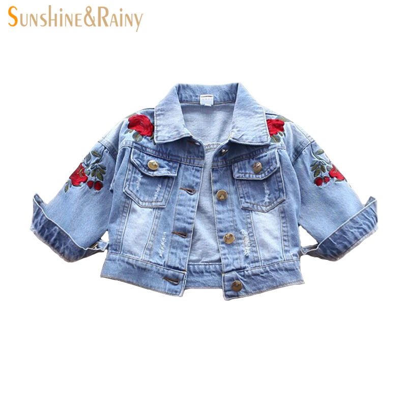 Baby Outerwear Coat Girl Jeans Jacket Spring Embroidery Flower Kids Denim Coat Toddler G ...