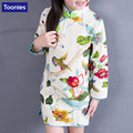 Baby Girl Dress Chinese Style Floral Long Sleeve Cotton Children Cheongsam Dresses Girls Clothes New Year Toddler Girl Clothing
