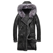 Luxury Real Sheepskin Fur Men Coat Genuine Silver Fox Fur Hood Sheep Shearling Male Long Outwear Black Men Fur Overcoat 4XL