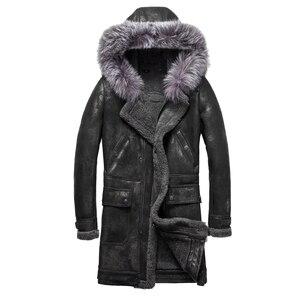 Image 1 - Luxury Real Sheepskin Fur Men Coat Genuine Silver Fox Fur Hood Sheep Shearling Male Long Outwear Black Men Fur Overcoat 4XL