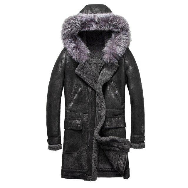 Luxury Real Sheepskin Fur Men Coat Genuine Silver Fox Fur Hood Sheep Shearling Male Long Outwear Black Men Fur Overcoat 4XL