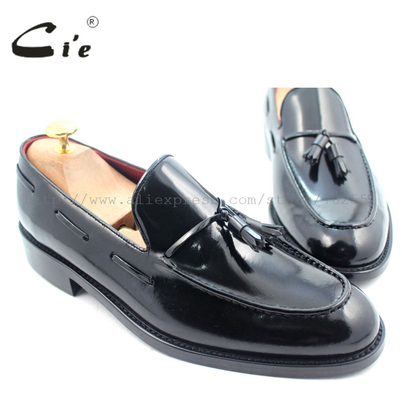 cie Free Shipping Custom Handmade Men's Black Patent Calfskin Leather Outsole Breathable Round Toe Tassel Slip-on No.Loafer 28 cie free shipping round toe adhesive craft handmade tassel slip on casual calfskin blue purple leather men s shoe no loafer 53