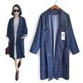 Loose Long Women Trench Coats Fashion Big Pockets Turn-down Collar Denim Coat Woman Windbreak Loose Clothes