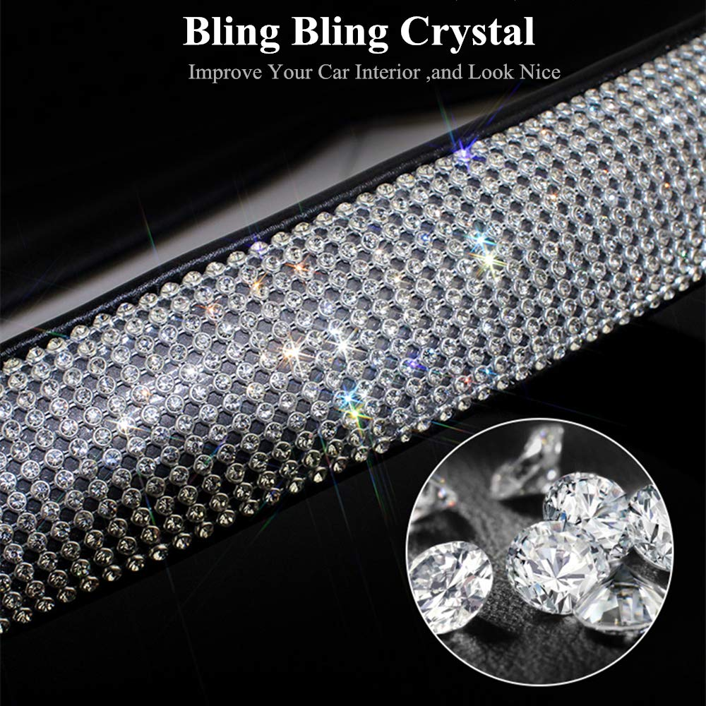 Image 2 - Bling Bling Rhinestones Crystal Car Steering Wheel Cover  PU Leather Steering wheel covers Auto Accessories Case Car Styling-in Steering Covers from Automobiles & Motorcycles