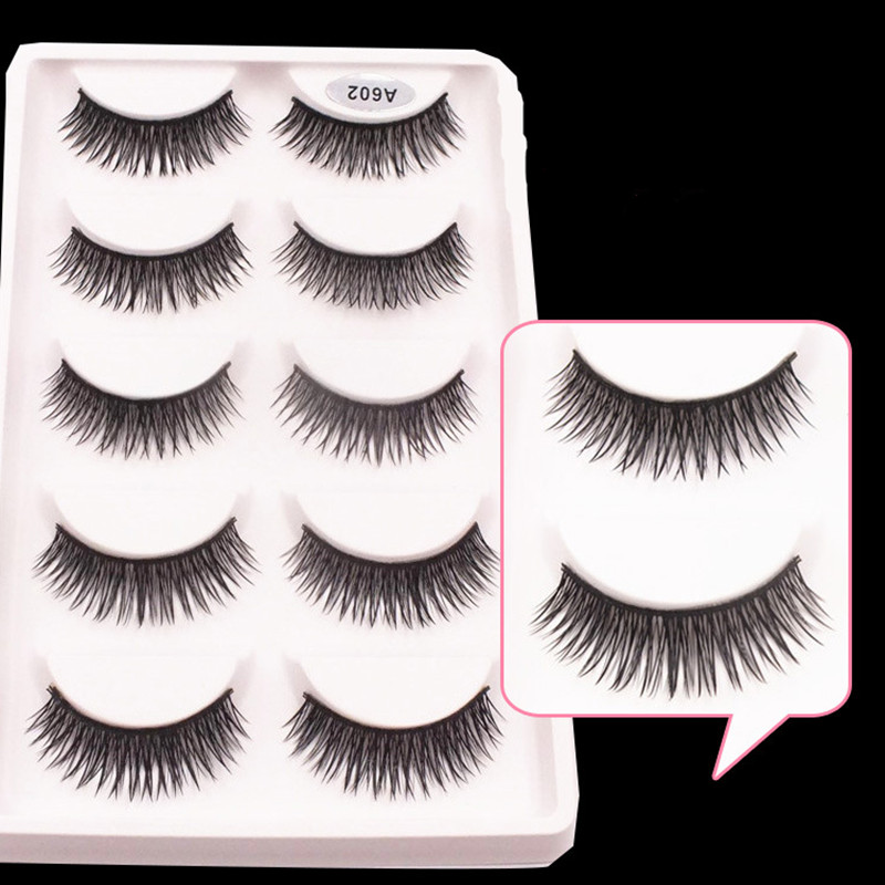 Popular 5 Pairs/set Beauty Thick Long eyelashes Makeup False Eyelashes Black Nautral Handmade Eye Lashes cross Extension