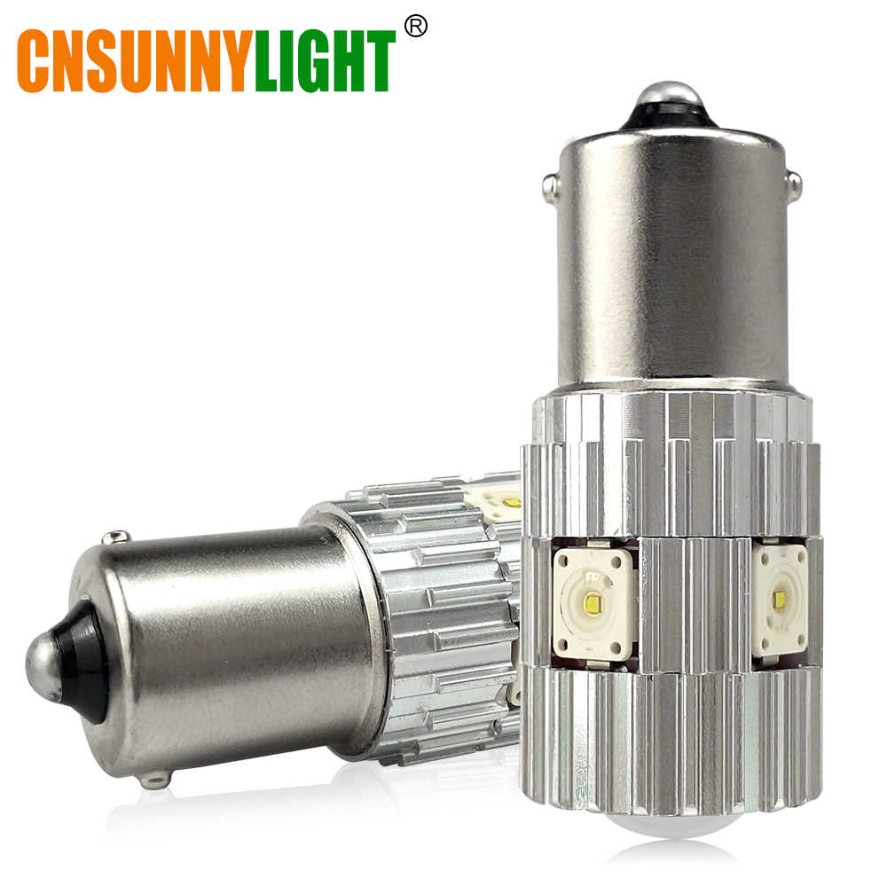 CNSUNNYLIGHT 2pcs 1156 LED BA15S P21W BAU15S PY21W S25 1200Lm 6000K White DRL Car Tail Fog Bulbs Brake Light Reverse Lamp