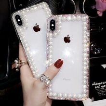 Glitter Pearl Clear Phone Cases For iPhone 11 Pro Max XR XS MAX X 8 7 6 6S Plus Case Cover For iPhone 11 Pro XR XS MAX X Plus(China)