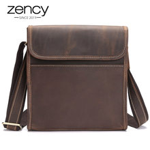 2019 New Arrival Men's Genuine Leather Shoulder Bags High Quality Men Vintage Ipad Holder Ruksacks Design Fashion Messenger bags(China)