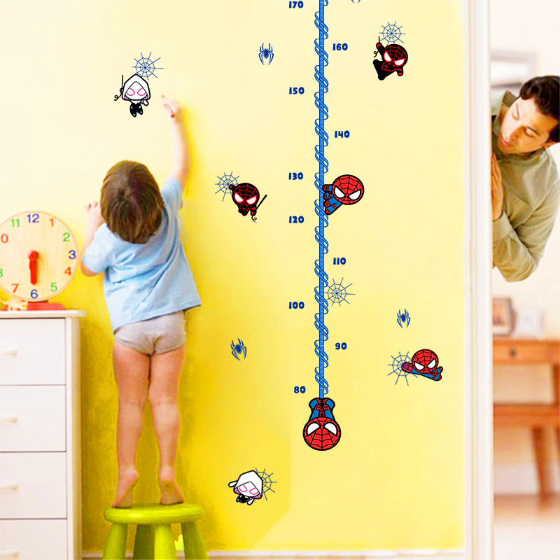 ̿̿̿(•̪ )Cartoon Mini Spider-Man Height Chart Ruler Wall Stickers For ...