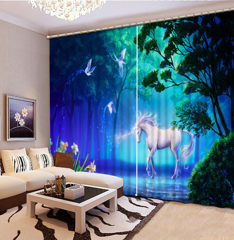 Customize 3D Curtains Kids Room Beautiful Landscape Horse Modern Living Room Home Windows Photo 3d Curtains