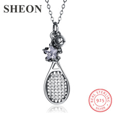 SHEON 100% 925 Sterling Silver Vintage Tennis Racket & Star Cubic Zircon Necklaces Fashion Jewelry for Women Anniversary Gift sheon 100