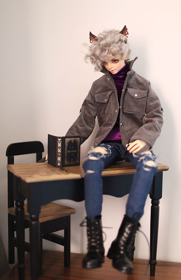 1/4 BJD doll coat Smoke grey color Bomber jacket for 1/4 size SD17 POPO68 Uncle size doll accessories doll clothes color block panel bomber jacket