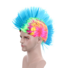 "Free Beauty 6"" Synthetic Rainbow Rooster Punk Rocking Dude Crazy Spiky Fancy Funny Puffy Cockscomb Mohawk Wig for Girls Man(China)"