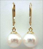 10 11MM AAA PERFECT ROUN South Sea White Pearl Earrings 14K SOLID GOLD MARKED