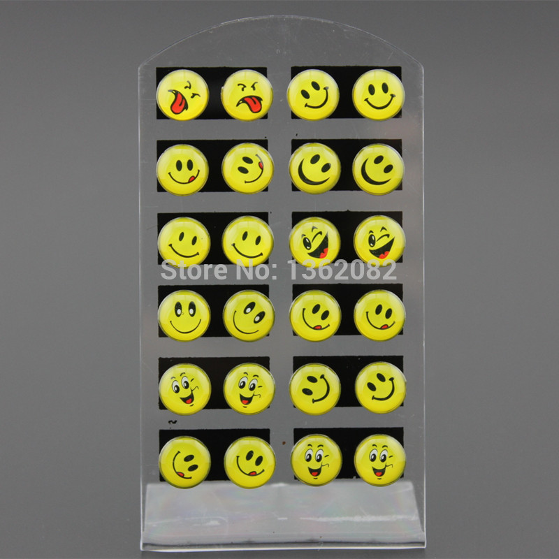 12 Pairs Cute Emoji Earrings Lovely Girls Gift Happy Face Ear Stud Smiley Random