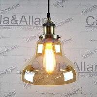 זכוכית ענבר פליז עתיק לופט רטרו תליון מנורה תעשייתית תליון אור קבועה לתלות מנורת 110 v 220 v הנורה E27 תאורת בציר