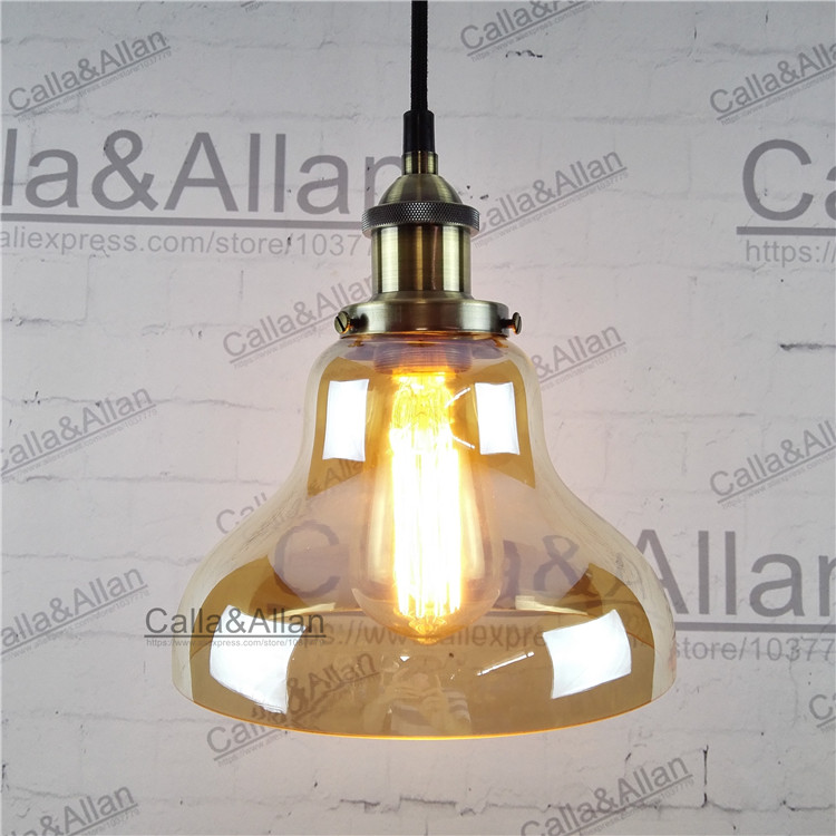 Amber glass antique brass Pendant Light Fixture Hang lamp Retro Industrial Pendant Lamp Loft 110v 220v E27 Bulb vintage lighting brass half round ball shade pendant light led vintage copper wooden lighting fixture brass wood fabric wire pendant lamp