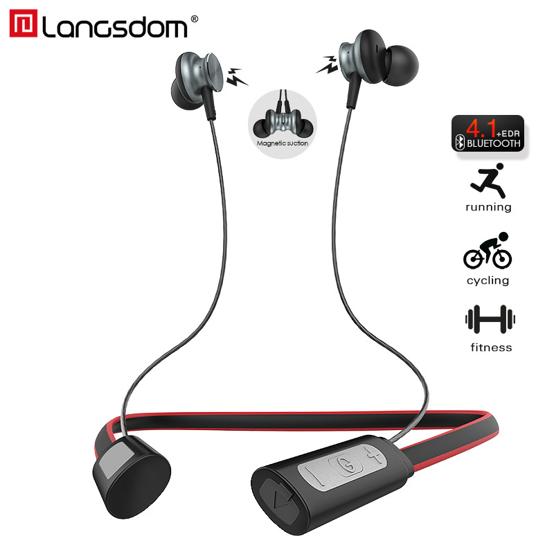 Langsdom L9 Neckband Sport Bluetooth Earphone for Phone Waterproof Bluetooth Headset with Mic Wireless Earphones fone de ouvido zomoea wireless headphone bluetooth v4 2 earphone sport headset earbuds with mic for xiaomi ipone mobile phone fone de ouvido