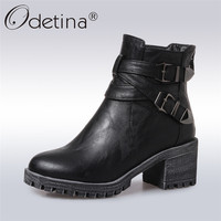 Odetina 2017 New Fashion Women Square High Thick Heel Ankle Boots Platform Black Double Buckle Booties
