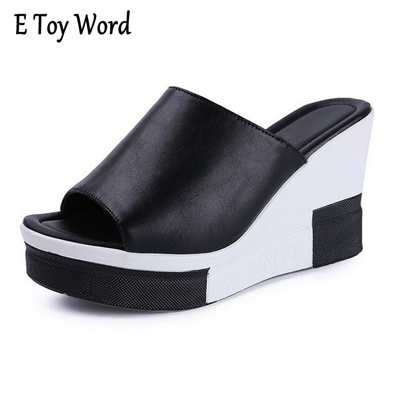 E TOY WORD Women Sandals 2017 Summer Shoes Woman Flip Flops Wedges Fashion Platform Female Slides Ladies Shoes Peep Toe women sandals shoes 2017 summer shoes woman gladiator wedges cool fashion rivet platform female ladies casual shoes open toe