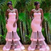 Vestidos Meerjungfrau Prom Kleider 2019 Neue Afrikanische Spezielle Tüll Zug Design Formale Abendkleider Party Kleider Robe De Soiree