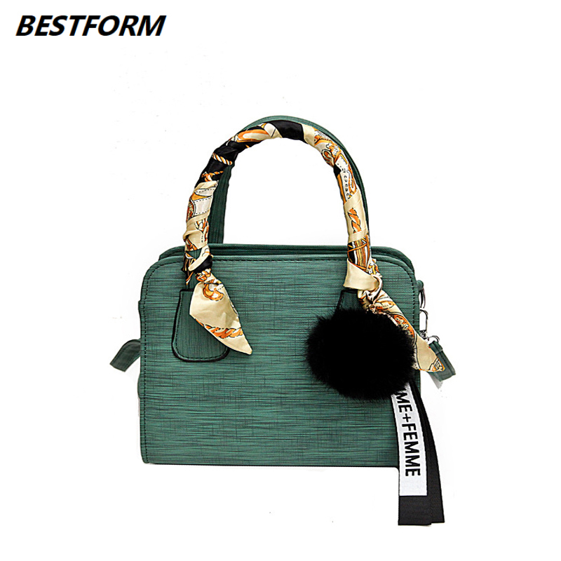 BESTFORM Luxury Small Women Bag Ladies Shoulder Leather Female Handbag Designers Hairball Womens Messenger Crossbody Bags