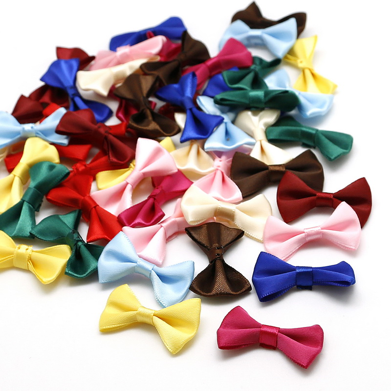 Ribbon bow 100 packs dark red Ribbon Bow-knot Grosgrain Ribbon Mini Bow Ties Craft Rose Appliques Craft Wedding Hair Bow DIY Decor Dark Red Convenient And Practical