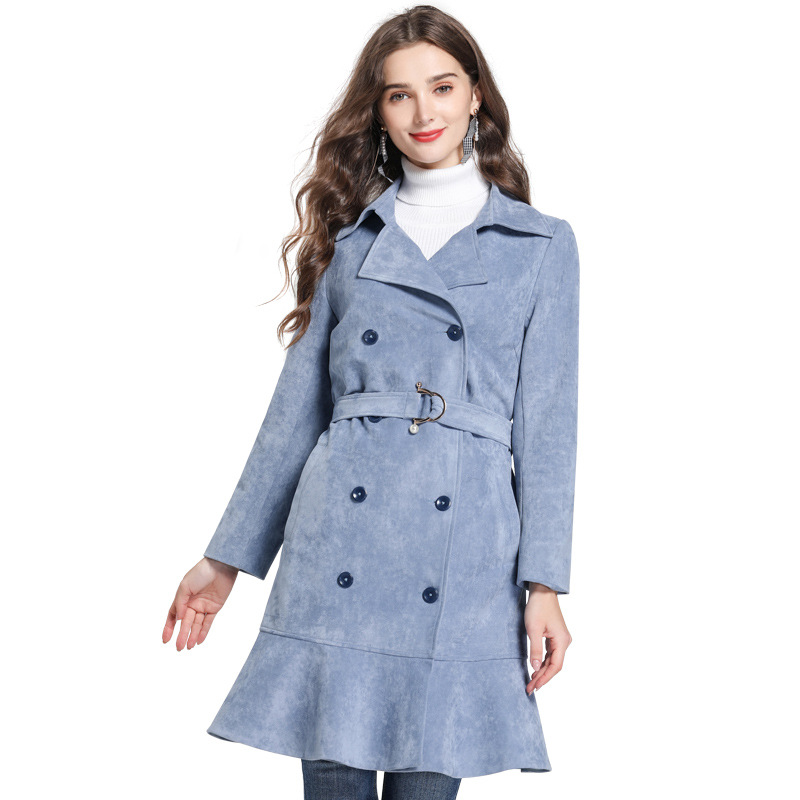 New Arrival Double Breasted Trench Coat Women Light Blue Ruffles Hem Ladies Outerwear Coats Plus Size 5xl Sashes Fashion Tops
