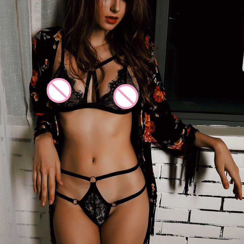 Women Sexy Erotic Lingerie Hollow Out Bust Bandage Open Bra See-through Lace Underwear Temptation Three Point Suit Sexy Lingerie