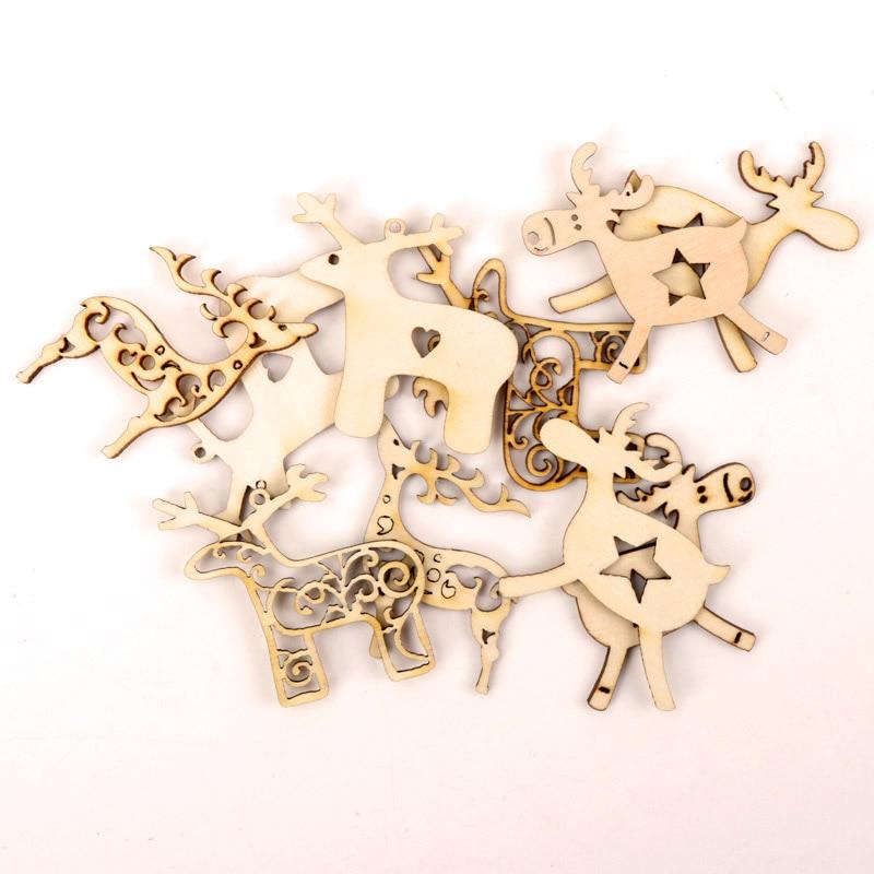 Christmas Deer Pattern Wooden Scrapbooking Collection Craft Handmade DIY Accessory Home Decoration 45-55mm 10pcs MZ214