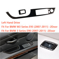 Carbon Fiber Car Window Lift Switch Button Panel Cover Trim Sticker for BMW M3 Series E93 3 Series E90 07 11 2 Door LHD