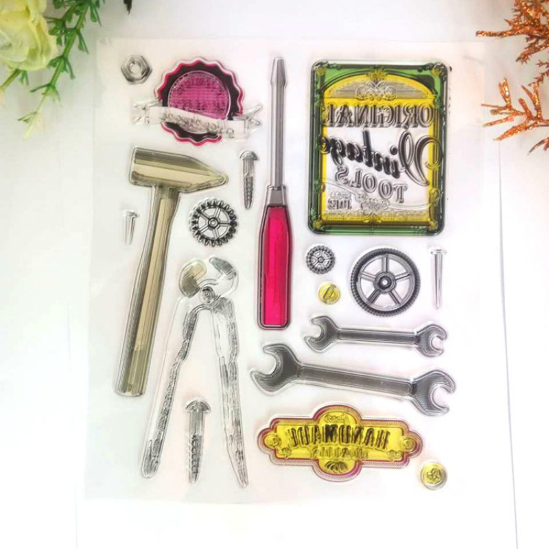 Original Vintage Tools Transparent Clear Stamps stencil rubber silicon Card Photo scrapbook Paper Craft Album Home Decor 1 design laser cut white elegant pattern west cowboy style vintage wedding invitations card kit blank paper printing invitation