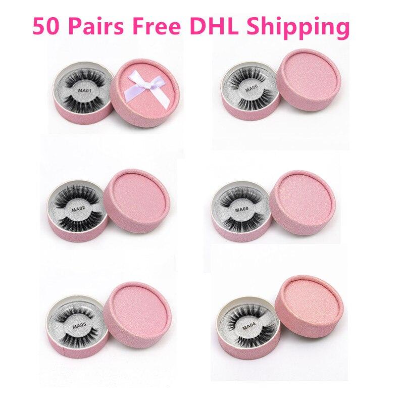 Оптовая продажа бесплатная DHL 50 пар ресницы 3D норки ресницы ручной работы накладные ресницы Красота макияж Полный Газа Lashes Cilios
